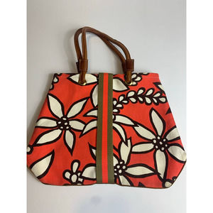 Annabel Ingall Floral Canvas Leather Bag